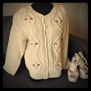 80's style hand knit sweater cardigan  S